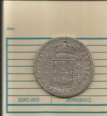 Brazil. 960 reis 1816. struck on Bolivia 8 reales. Potosi. LARGE SILVER COIN.!!