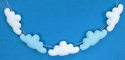 Handmade felt baby/child's white & blue cloud nursery bunting/garland
