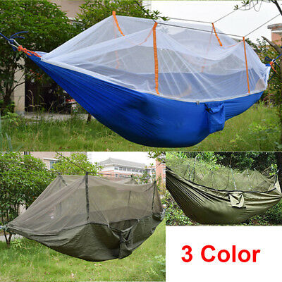 Portable Nylon Fabric Hammock With Mosquito Net Garden Jungle Camping Tent New