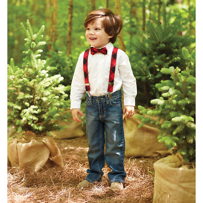 Mud Pie H7 Alpine Village Baby Boy Buffalo Check Bow Tie & Suspender 1592106
