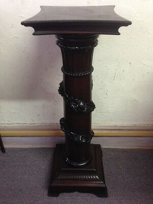 Antique Mahogany Pedestal Plant Stand, Carved Roses & Leaves circa 1905