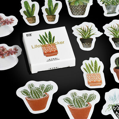 45/90pcs Green Plant Cactus Label Sticker DIY Diary Album Label Scrapbook Decor