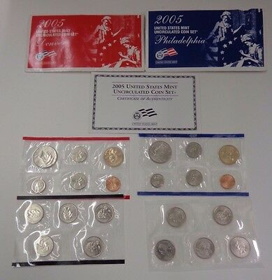 United States Mint 2005 Uncirculated Coin Set 22 coins Denver & Philadelphia