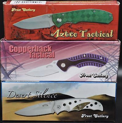 LOT OF 3-FROST CUTLERY Folding TACTICAL Pocket Knife Knives (3526) $53