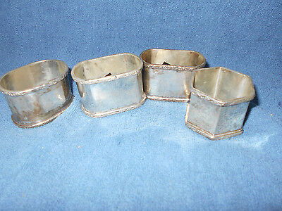 Antique/Vintage Metal Dishes:  Silver/Silver Plate Napkin Rings India