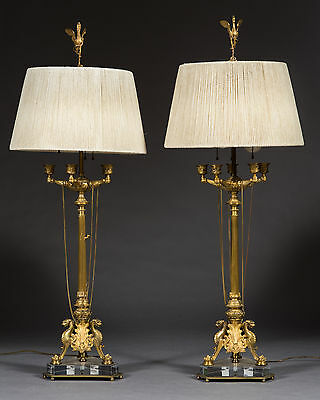 A Very Fine Pair of 19th Century French Napoleon III Gilt Bronze Candelabras