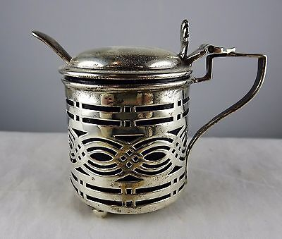 #5 Antique William Aitken Pierced Sterling Silver Mustard Pot w/ Liner & Spoon