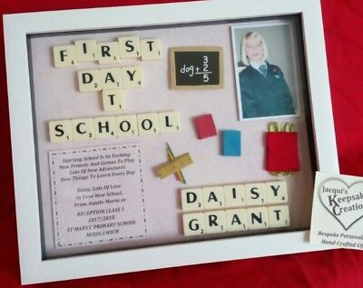 FIRST DAY At School Personalised Frame Picture Keepsake Girl Photo ...