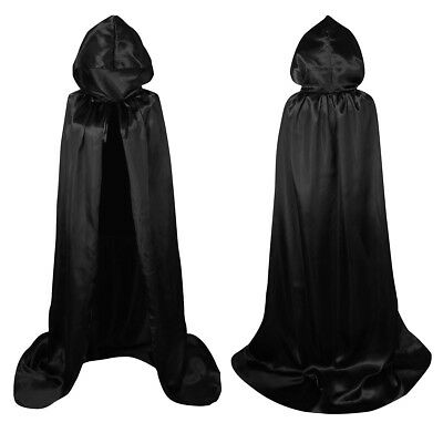 Adult Kid Unisex Full Length Cape Costume Cloak Halloween Black Hooded Cloaks