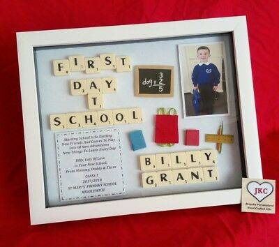 FIRST DAY At School Personalised Frame Picture Keepsake Boy Photo ...