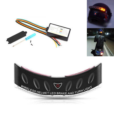Wireless 8 LED Motorcycle Rider Helmet Turn Signal Stop Brake light Security CO