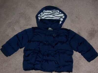 babyGap boys Coat Jacket hood 6-12 months winter peacoat puffer navy