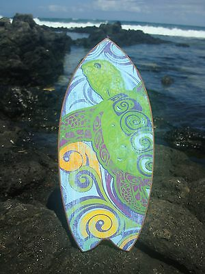 PSYCHEDELIC SEA TURTLE SURFBOARD Ocean Green & Blue Beach Sign Home Decor NEW