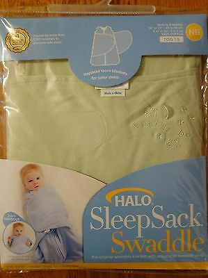 HALO SleepSack Swaddle Newborn 0-3 Months Baby Blanket Wrap GREEN 100% Cotton