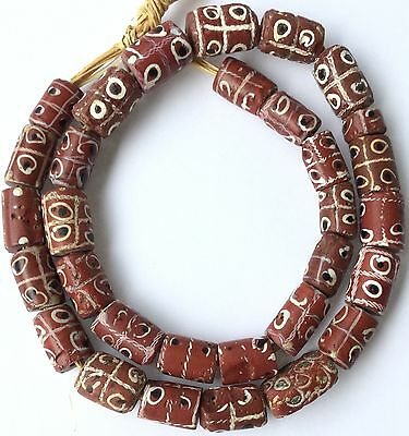 Strand of old Venetian Antique Wound Glass African Trade beads