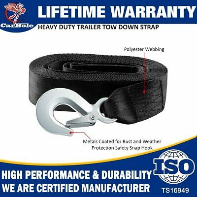 """2""""x20' Heavy Duty Winch Straps For Boat Trailer 10000Lb MaX With Snap Hook Quick"""