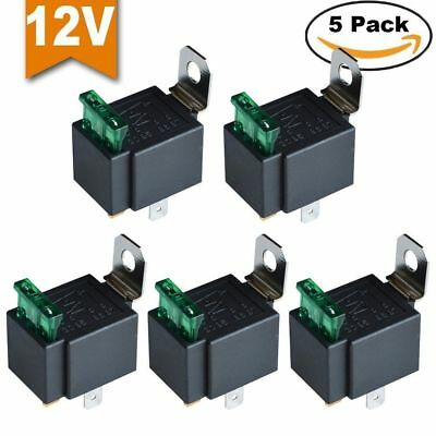 5 Pcs Car Relay DC12V 30A 4 PIN SPST Auto Relay with 30 AMP Fuse Holder Auto NEW