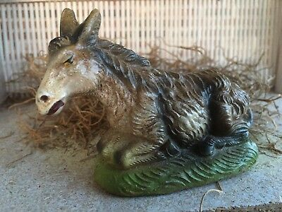 """Vintage Italy Composition Brown Donkey Laying Down,Easter,Nativity Figure,3 1/2"""""""