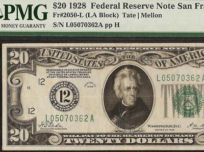 1928 $20 DOLLAR FEDERAL RESERVE GOLD ON DEMAND NUMERICAL NOTE Fr 2050-L PMG