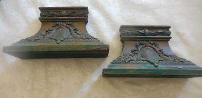 2 Vintage matching wall sconces display shelf shabby Chic Gold/green patina