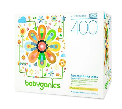 Babyganics Face, Hand & Baby Wipes, Fragrance Free, 400 Count (Contains F...