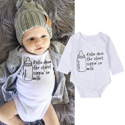 AU Newborn Baby Boy Girl Cotton Bodysuit Infant Romper Jumpsuit Clothes Outfits