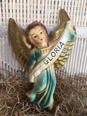 Vintage Japan Composition Gloria Angel,Green Robe Nativity Figurine, 4 1/2""