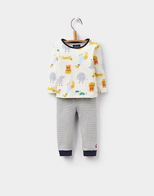 Joules 124464 Baby Boys Toby Long Sleeved Printed T-Shirt Set in Cream Zoo