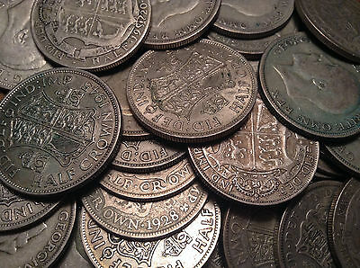 1920 To 1946 Uk Great Britain .500 Silver Half Crown Buy 1 Or More Its Free S/h!