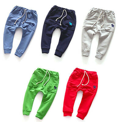 Baby Kids Toddler Harem Pants Soft Cotton Sports Pants Boy Girl Long Trousers AU