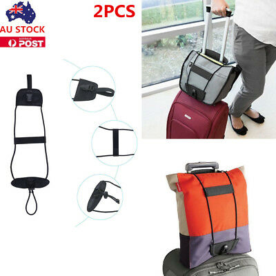 2X Black Add A Bag Strap Luggage Suitcase Adjustable Belt Carry On Bungee Travel
