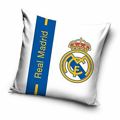 Real Madrid Cf Stripe Filled Cushion - White & Blue 100% Official - 100% Cotton
