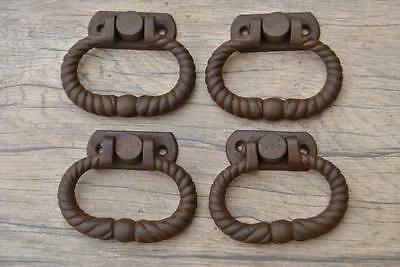"VTG 2.6"" Victorian Cast Iron drop Drawer Dresser Pull handle Twisted Rope 4Pcs"