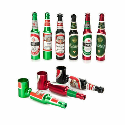 Beer Bottle Pipe Smoking Tobacco Herb Metal Aluminum Portable Small /Large Gold