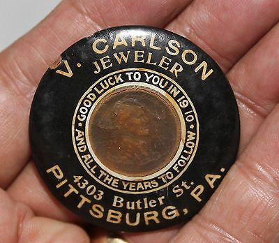 V. Carlson Jeweler 1910 ENCASED Penny Celluloid Advertising Pocket Mirror PA