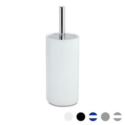 Bathroom Toilet Brush & Standing Holder Ceramic Cleaning Set - White