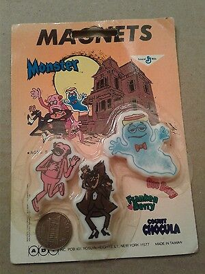 General Mills Cereal Franken Berry, Count Chocula and Boo Berry Magnets NIP