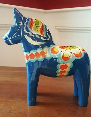 """Vintage 7.75"""" Swedish By Grannas Olssons Dala Horse Blue Hand-Carved & Painted"""
