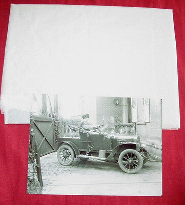 plaque de verre d'epoque et son retirage photo automobile biplace 1906-1910