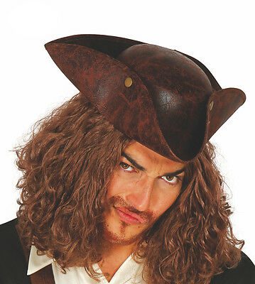 Deluxe Pirates Tricorn Hat Brown Leather Look Aged Fancy Dress LARP Comic Con