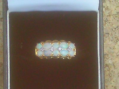 9ct Gold & Opal Cluster Ring by QVC. Size T.