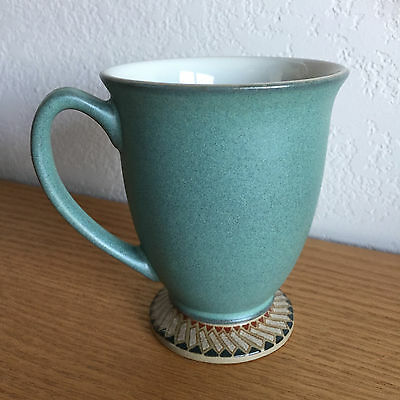 Luxor by Denby/Langley Tan Teal Green Brn Geomet Rim Footed Coffee Mug  4 1/4""
