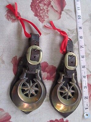 Vtg. Horse Brasses on Original Leather Straps/Lot of 2/Moon & Star
