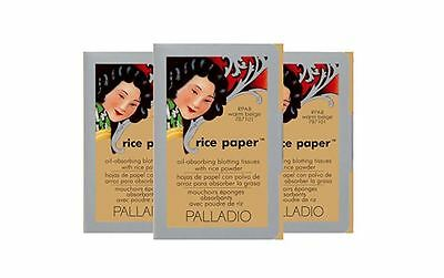 Palladio Rice Paper Blotting Oil Absorbing Tissues 3-Pack, Warm Beige -Brand New