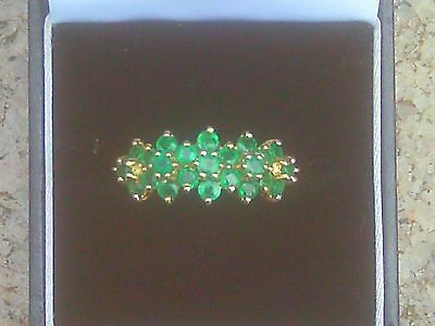 9ct Gold Russian Chrome Diopside Cluster Ring by QVC. Size T