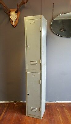 Vintage Retro Steel Industrial Double Locker Gym School
