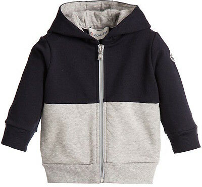 Moncler Baby Navy Blue Grey Cotton Logo Sweatshirt 12-18 Months