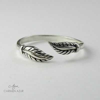 Solid 925 Sterling Silver Toe / Midi Ring Leaf, Oxidized finish New inc Gift Bag