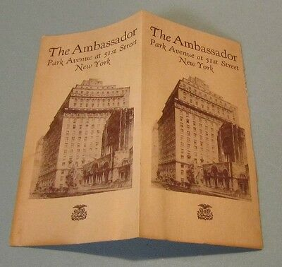 1920's The Ambassador Hotel New York Travel Brochure Park Avenue at 51st Street