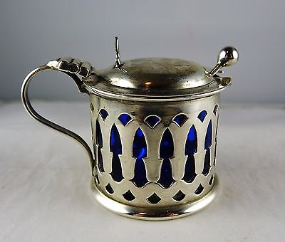#9 Antique English Sterling Pierced Mustard Pot w/Cobalt Liner, Spoon - W H S ?